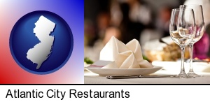 Atlantic City, New Jersey - a restaurant table place setting