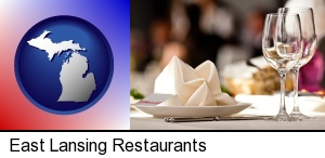 East Lansing, Michigan - a restaurant table place setting