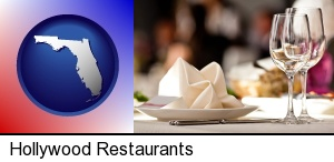 Hollywood, Florida - a restaurant table place setting