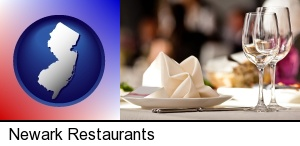 Newark, New Jersey - a restaurant table place setting