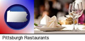 Pittsburgh, Pennsylvania - a restaurant table place setting