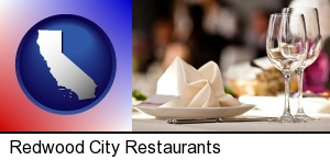 Redwood City, California - a restaurant table place setting