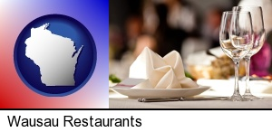 Wausau, Wisconsin - a restaurant table place setting