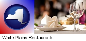 White Plains, New York - a restaurant table place setting
