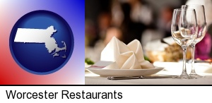 Worcester, Massachusetts - a restaurant table place setting