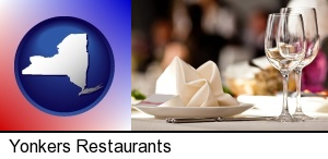 Yonkers, New York - a restaurant table place setting
