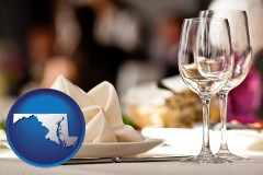 maryland map icon and a restaurant table place setting