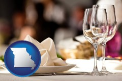 missouri map icon and a restaurant table place setting