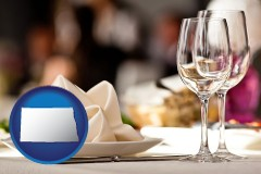 north-dakota map icon and a restaurant table place setting