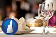 new-hampshire map icon and a restaurant table place setting