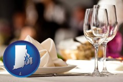 a restaurant table place setting - with Rhode Island icon