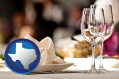 texas map icon and a restaurant table place setting