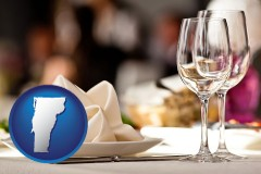 vermont map icon and a restaurant table place setting