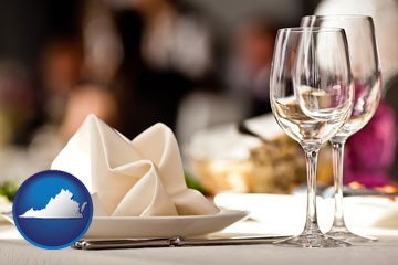 a restaurant table place setting - with Virginia icon