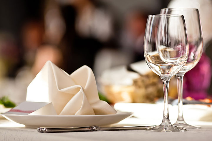 a restaurant table place setting
