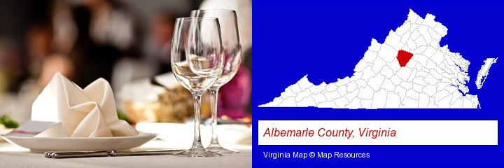 a restaurant table place setting; Albemarle County, Virginia highlighted in red on a map