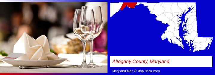 a restaurant table place setting; Allegany County, Maryland highlighted in red on a map