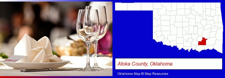 a restaurant table place setting; Atoka County, Oklahoma highlighted in red on a map