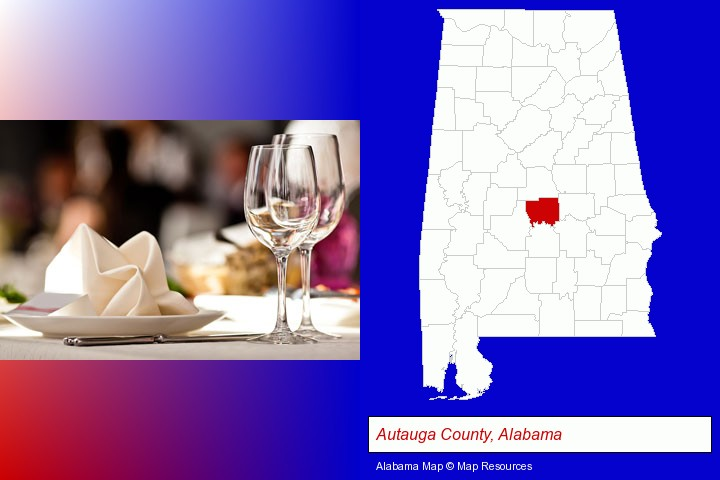 a restaurant table place setting; Autauga County, Alabama highlighted in red on a map