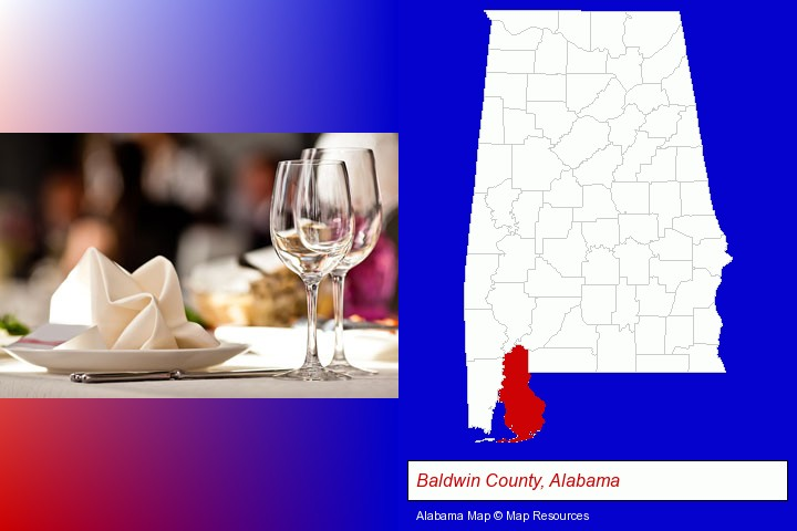 a restaurant table place setting; Baldwin County, Alabama highlighted in red on a map