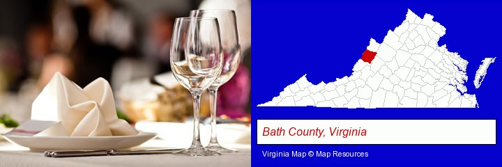 a restaurant table place setting; Bath County, Virginia highlighted in red on a map