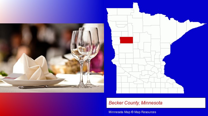 a restaurant table place setting; Becker County, Minnesota highlighted in red on a map