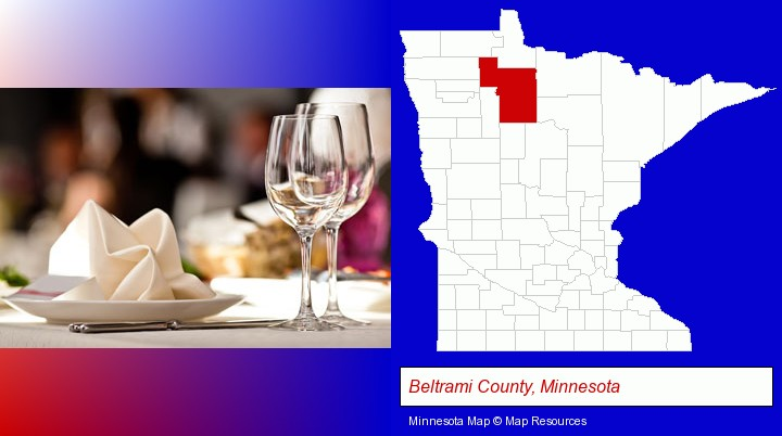 a restaurant table place setting; Beltrami County, Minnesota highlighted in red on a map