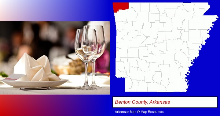 a restaurant table place setting; Benton County, Arkansas highlighted in red on a map