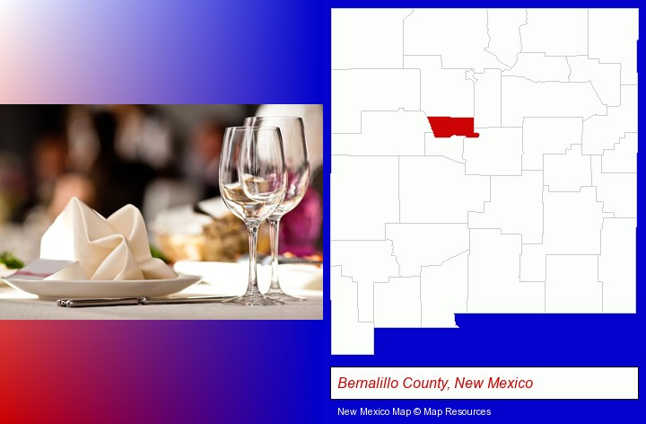 a restaurant table place setting; Bernalillo County, New Mexico highlighted in red on a map