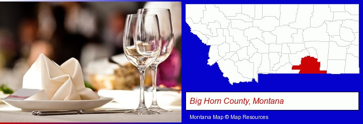 a restaurant table place setting; Big Horn County, Montana highlighted in red on a map
