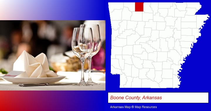a restaurant table place setting; Boone County, Arkansas highlighted in red on a map