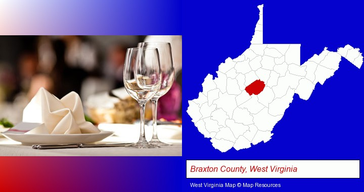 a restaurant table place setting; Braxton County, West Virginia highlighted in red on a map