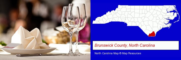 a restaurant table place setting; Brunswick County, North Carolina highlighted in red on a map