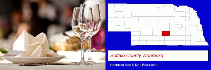 a restaurant table place setting; Buffalo County, Nebraska highlighted in red on a map