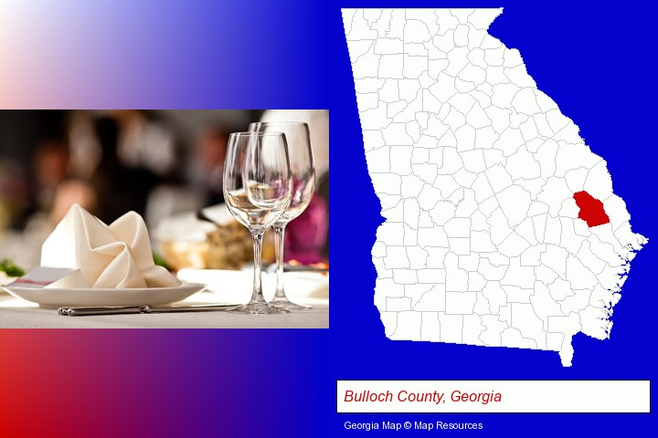 a restaurant table place setting; Bulloch County, Georgia highlighted in red on a map