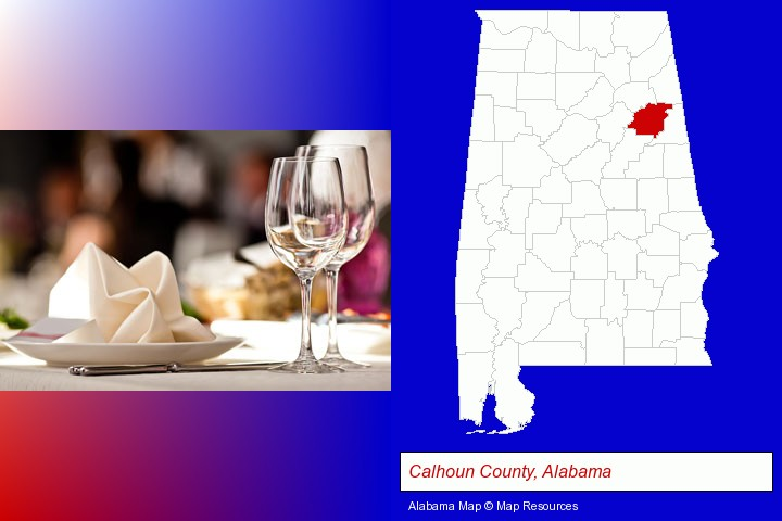 a restaurant table place setting; Calhoun County, Alabama highlighted in red on a map