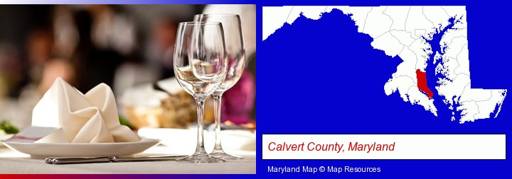 a restaurant table place setting; Calvert County, Maryland highlighted in red on a map