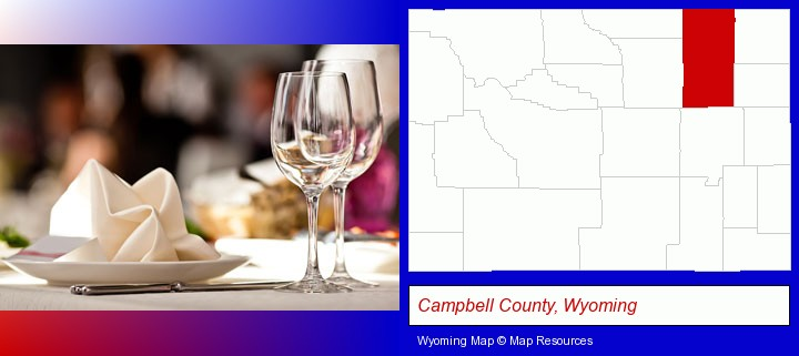 a restaurant table place setting; Campbell County, Wyoming highlighted in red on a map