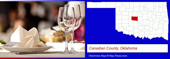 a restaurant table place setting; Canadian County, Oklahoma highlighted in red on a map