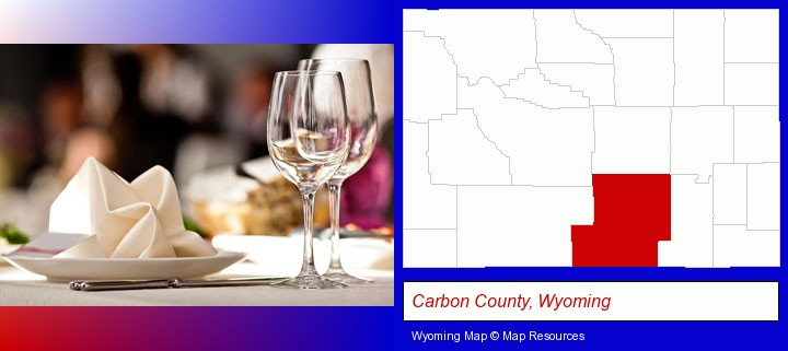 a restaurant table place setting; Carbon County, Wyoming highlighted in red on a map
