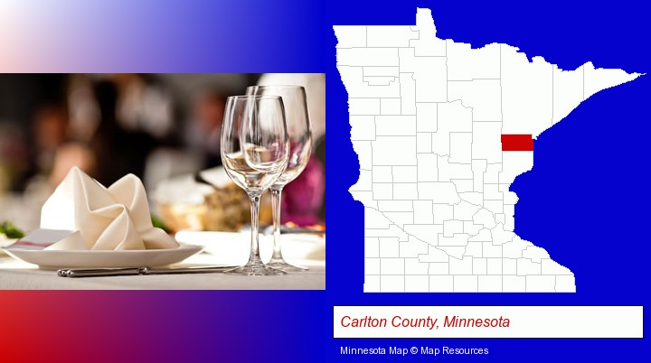 a restaurant table place setting; Carlton County, Minnesota highlighted in red on a map