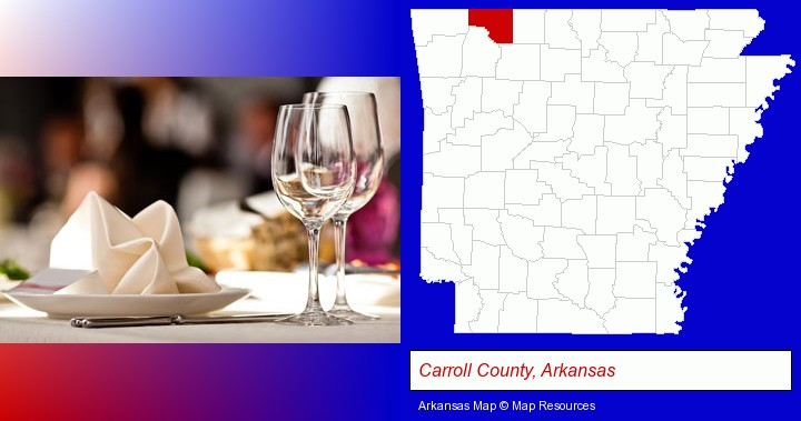 a restaurant table place setting; Carroll County, Arkansas highlighted in red on a map