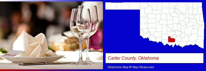a restaurant table place setting; Carter County, Oklahoma highlighted in red on a map