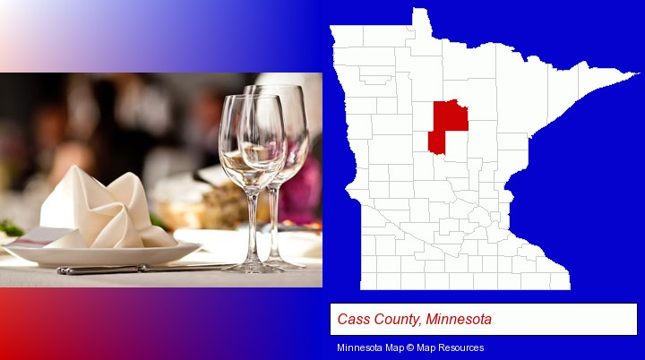 a restaurant table place setting; Cass County, Minnesota highlighted in red on a map