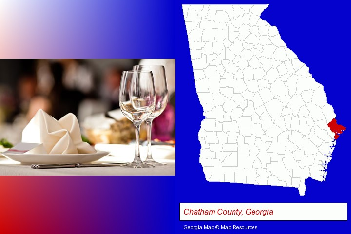 a restaurant table place setting; Chatham County, Georgia highlighted in red on a map