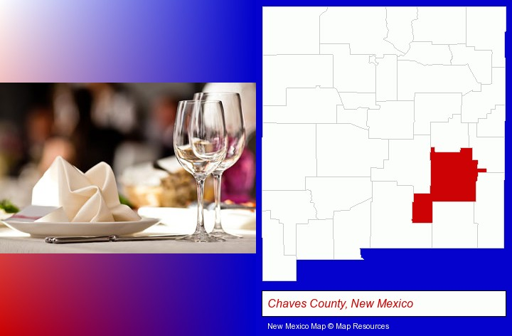 a restaurant table place setting; Chaves County, New Mexico highlighted in red on a map
