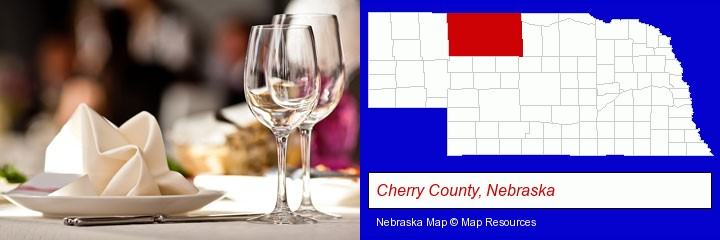 a restaurant table place setting; Cherry County, Nebraska highlighted in red on a map