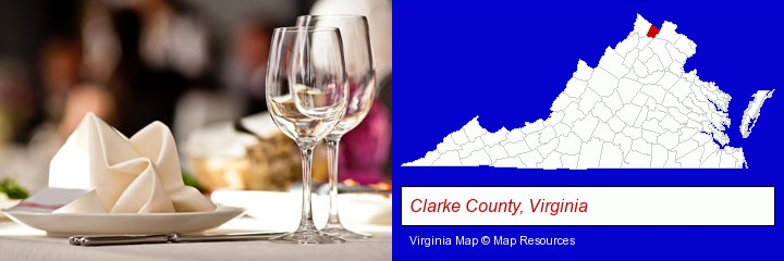 a restaurant table place setting; Clarke County, Virginia highlighted in red on a map