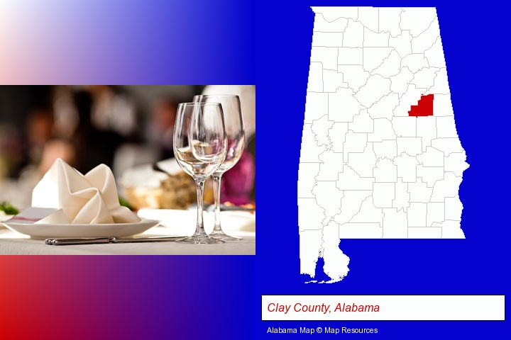 a restaurant table place setting; Clay County, Alabama highlighted in red on a map