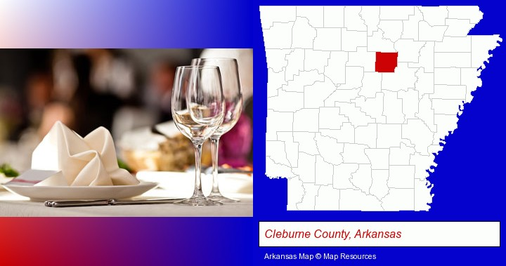 a restaurant table place setting; Cleburne County, Arkansas highlighted in red on a map